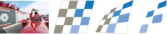 The progression from checkered flag to logo.