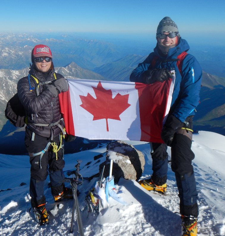 2016 07 07 Alex Mokin & Colin Kalaska at Mt. Elbrus Summit